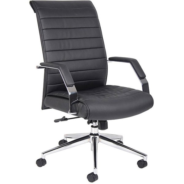 Boss Black Ribbed High-back Chrome-base Adjustable Executive Chair
