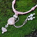 Silver 'Sweetheart' Rose Quartz and Pearl Necklace (5.5 mm) (Thailand)