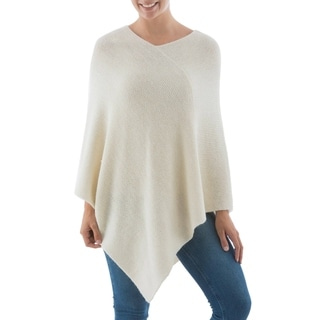Alpaca Wool 'Sweet Cream' Poncho (Peru)