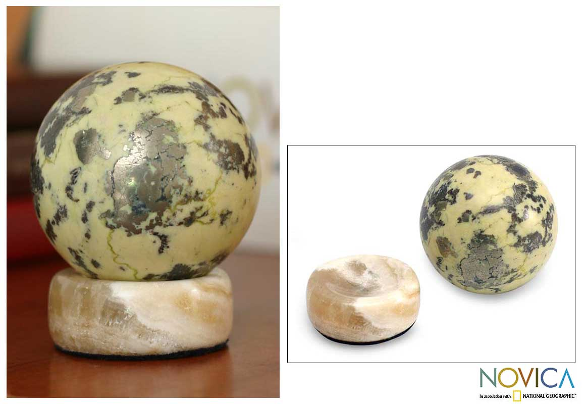 Serpentine 'World of Nature' Sphere , Handmade in Peru