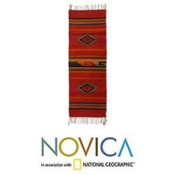 Mexican 'Crimson Sun' Zapotec Wool Rug (1'4 x 4'1)