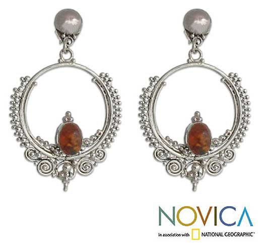 Sterling Silver 'Temple of Light' Amber Dangle Earrings (Indonesia)