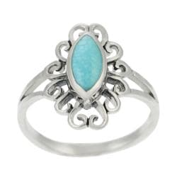 Tressa Sterling Silver Marquise-cut Turquoise Ring