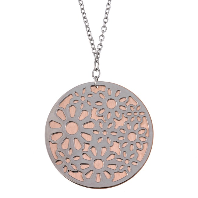 Kabella Two-tone Stainless Steel Round Flower Design Necklace