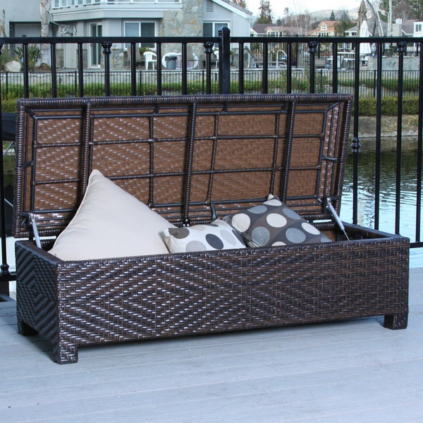 Christopher Knight Home Santiago Brown Wicker Storage Ottoman Ov