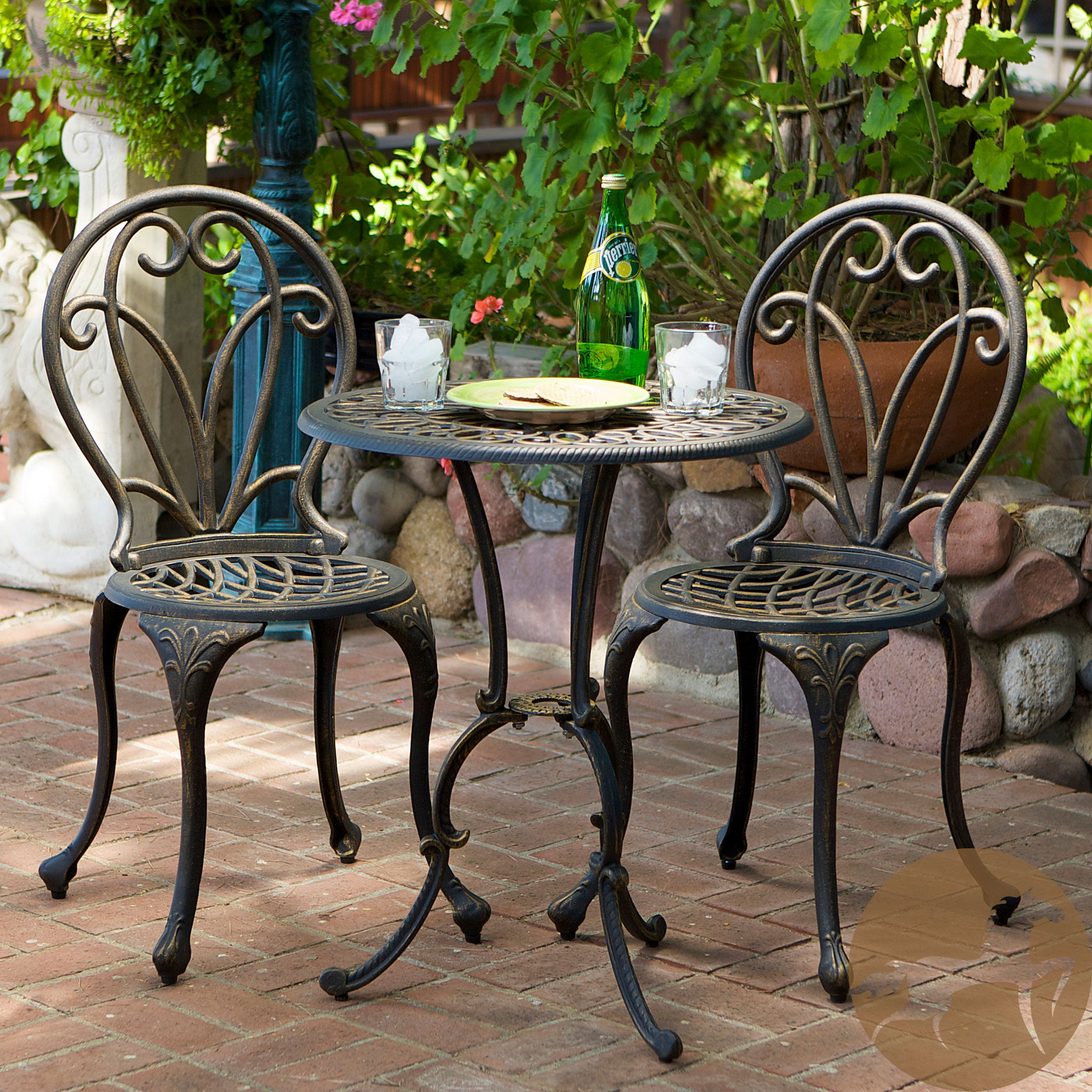 Christopher Knight Home Thomas Cast Aluminum Dark Gold 3-piece Bistro Set at Sears.com