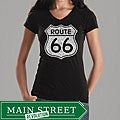 Los Angeles Pop Art Women's Route 66 V-neck Shirt