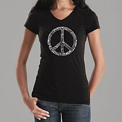 Los Angeles Pop Art Women's Peace Symbol V-neck Shirt
