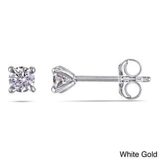 14k Gold 1/4ct TDW Certified Round Diamond Stud Earrings (G-H, SI1-SI2)