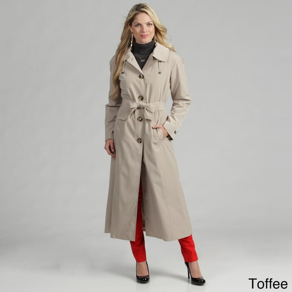 London Fog Women's Single-breasted Belted Rain Coat
