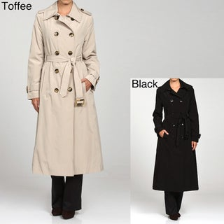 London Fog Women's Long Double-breasted Belted Trench Coat