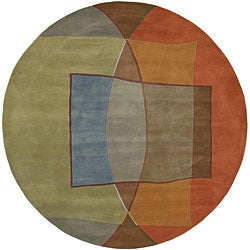 Hand-tufted Multi Colored Contemporary Callio New Zealand Wool Abstract Rug (7'9 Round)
