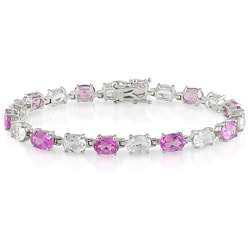 Sterling Silver Created Pink Sapphire and White Topaz Link Bracelet