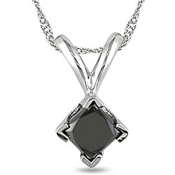 Miadora 14k White Gold 1/2ct TDW Black Diamond Solitaire Necklace