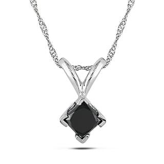 Miadora 14k White Gold 1/2ct TDW Black Diamond Solitaire Necklace
