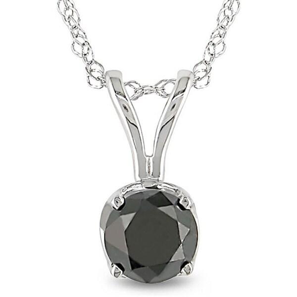 Miadora 14k White Gold 3/4ct TDW Black Diamond Solitaire Necklace
