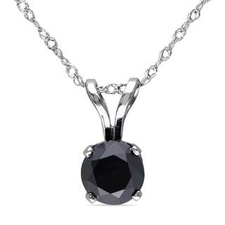 Miadora 14k White Gold 1ct TDW Black Diamond Solitaire Necklace