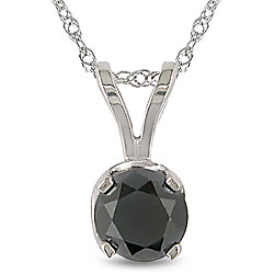 Miadora 14k White Gold 1ct TDW Black Diamond Solitaire Necklace