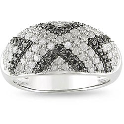 Miadora Sterling Silver 1ct TDW Diamond 'X' Ring (I-J, I3)