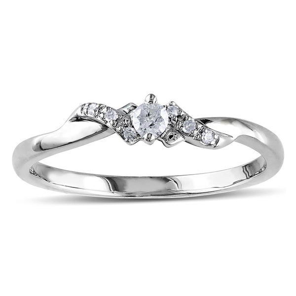 Miadora 10k White Gold 1/10ct Diamond Engagement Ring (H-I, I2-I3)