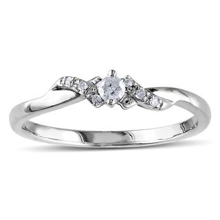 Miadora 10k White Gold 1/10ct TDW Diamond Promise Ring (H-I, I2-I3)
