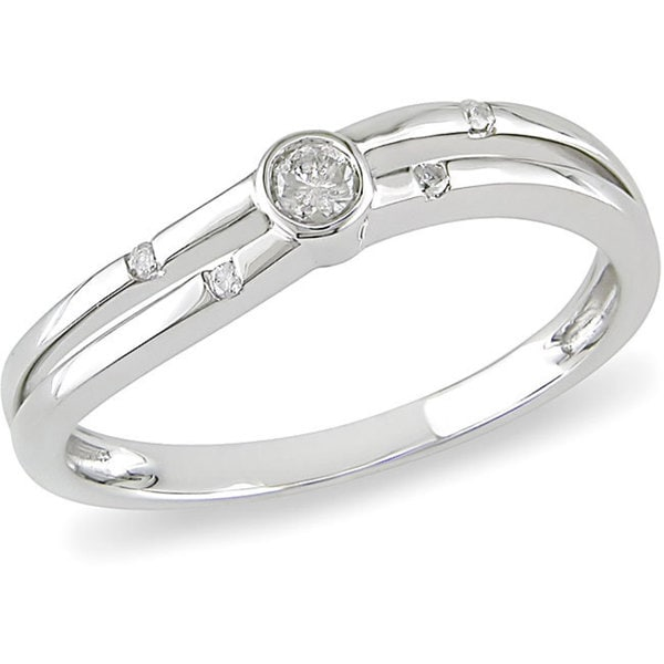 Haylee Jewels 10k White Gold 1/10ct TDW Round-cut Diamond Promise Ring (H-I, I2-I3)
