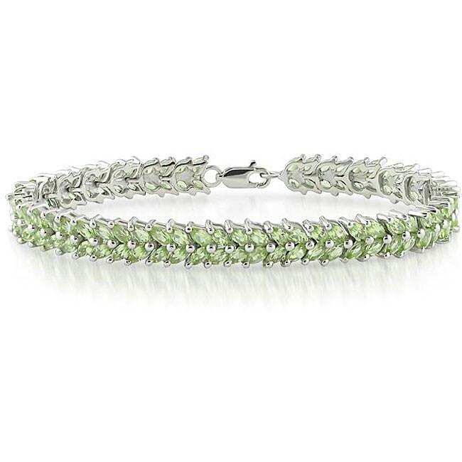 Miadora Sterling Silver Peridot Tennis Bracelet