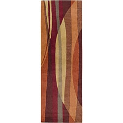 Hand-tufted Contemporary Multi Colored Stripe Metro New Zealand Wool Abstract Rug (2'6 x 8')