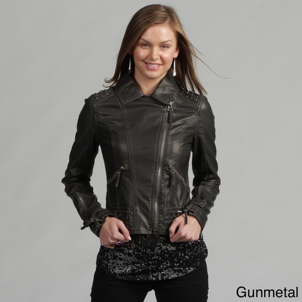 Miss Sixty Women's Faux Leather Studded Motorcycle - Overstock