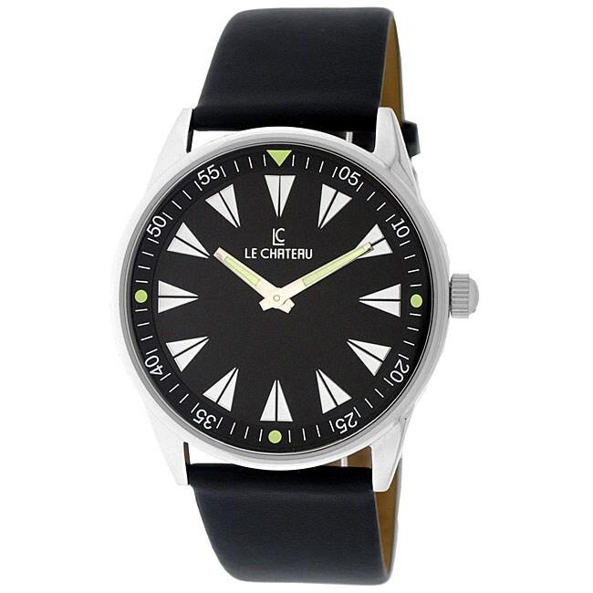 Le Chateau Men's Sport Luminous Hands Black Dial Watch