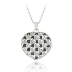 Glitzy Rocks Sterling Silver Sapphire Heart Necklace