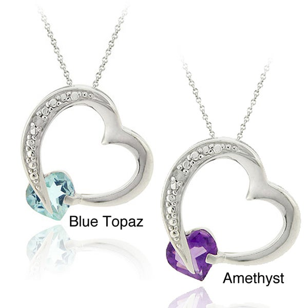Glitzy Rocks Silver Amethyst or Blue Topaz and Diamond Accent Heart Necklace