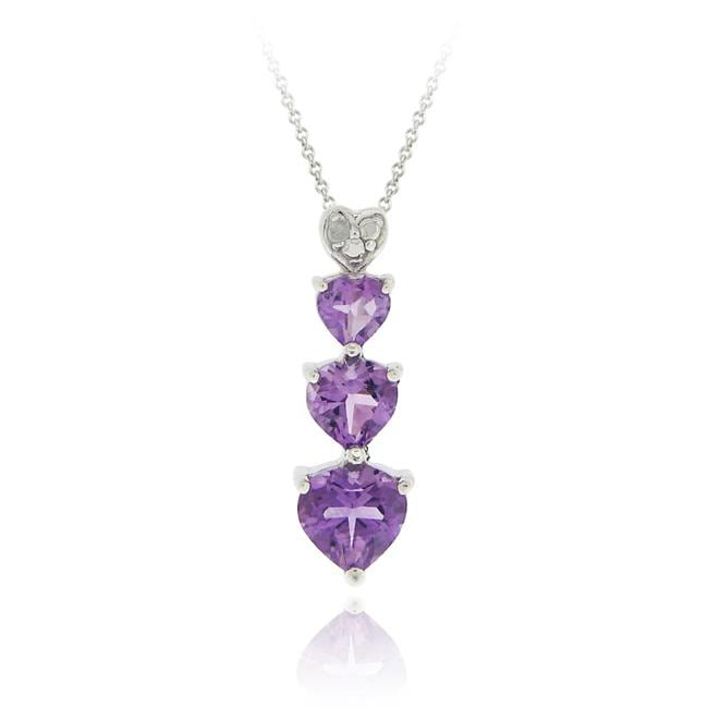 Glitzy Rocks Sterling Silver Amethyst and Diamond Accent Heart Necklace