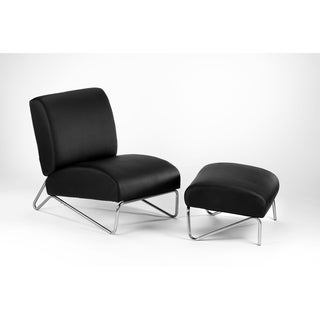 Easy Rider Black Faux Leather Chair and Ottoman Set