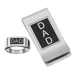Stainless Steel 'DAD' Ring and Money Clip Set