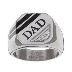 Stainless Steel 'Dad' Diamond Accent Ring