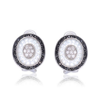 Collette Z Sterling Silver Mother of Pearl and Black Cubic Zirconia Earrings