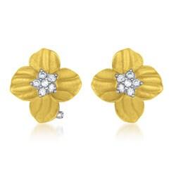 Collette Z Vermeil Clear Cubic Zirconia Flower Earrings