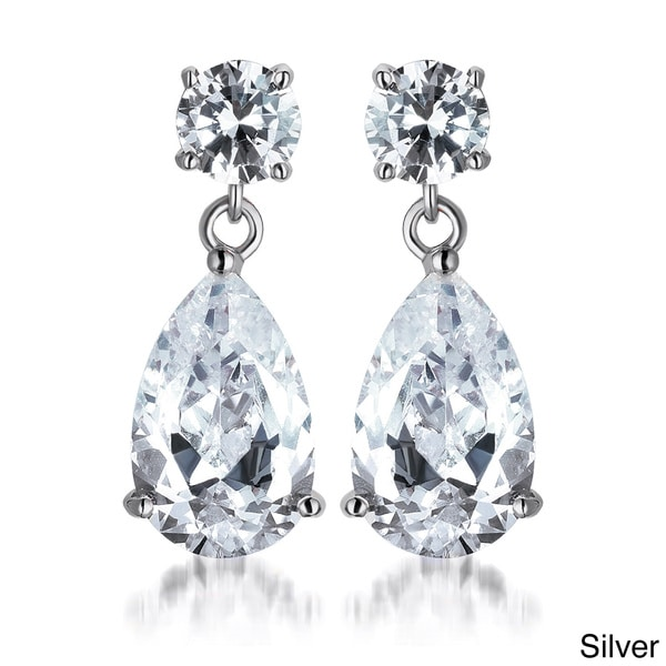 Collette Z Sterling Silver Pear-cut Cubic Zirconia Drop Earrings
