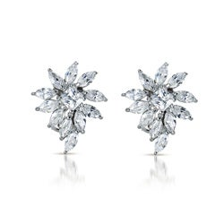 Collette Z Sterling Silver Marquise-Shaped Cubic Zirconia Cluster Earrings