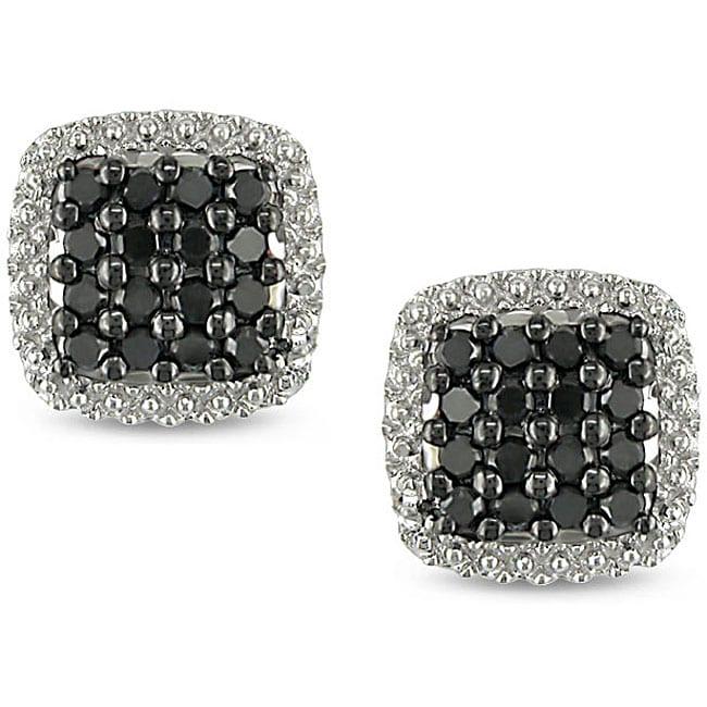 Miadora 10k White Gold 1/2ct TDW Black Diamond Halo Earrings