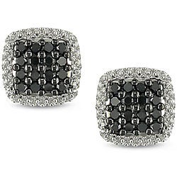 Miadora 10k White Gold 1/2ct TDW Black Diamond Halo Earrings