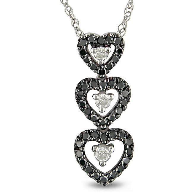 Miadora 10k White Gold 1/4ct TDW Diamond Heart Necklace (H-I, I2-I3)