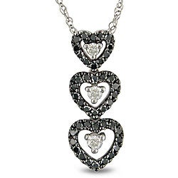 Miadora 10k White Gold 1/4ct TDW Diamond Heart Necklace (H-I, I2-I3)