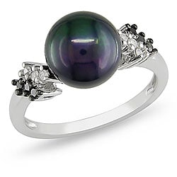 Miadora Silver Black Pearl and 1/8ct TDW Diamond Ring (H-I, I3) (9-9.5 mm)
