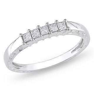 Miadora 10k White Gold 1/4ct TDW Princess Diamond Ring (H-I, I2-I3)