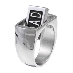 Stainless Steel Reversible 'DAD' Diamond Accent Ring
