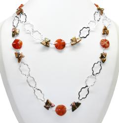 Sterling Silver Purple FW Pearl and Fire Agate Necklace (10-12 mm)