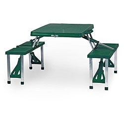 Picnic Time Hunter Green Folding Table with Seats