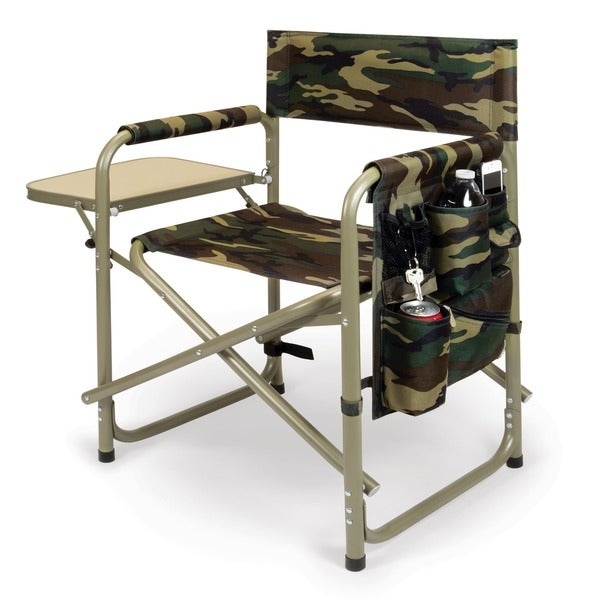 Picnic Time Camouflage Folding Sports Chair with Side Table